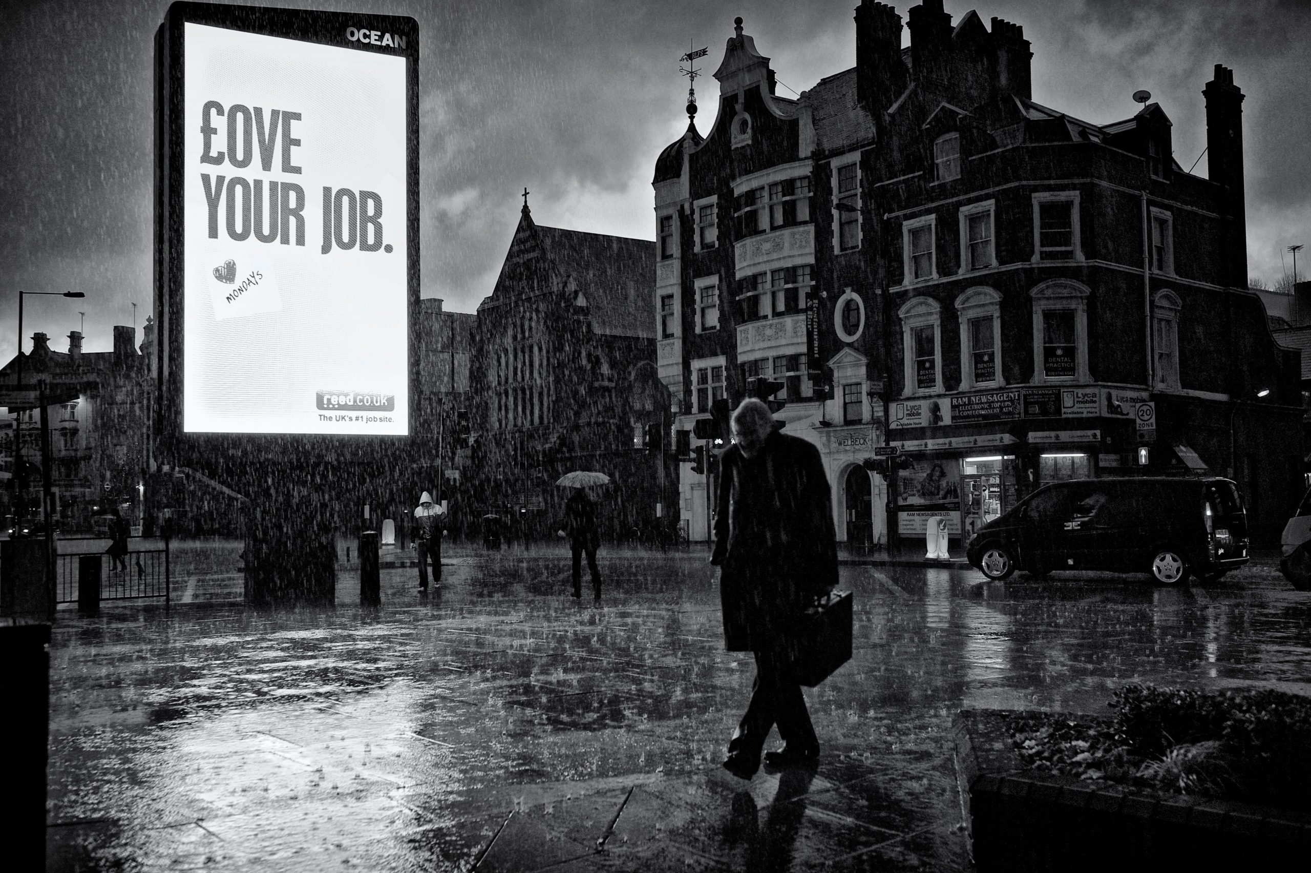 Rain - black and white street photography
