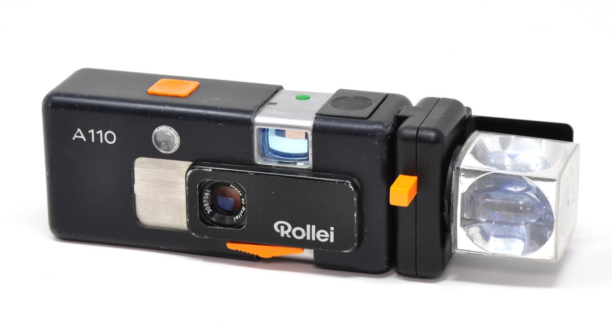 Rollei A110 with its dedicated flashgun and flashcube attached