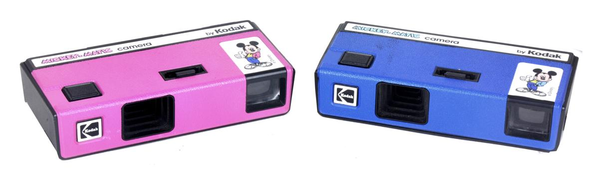 Mickey-Matic 110 cameras in pink and blue