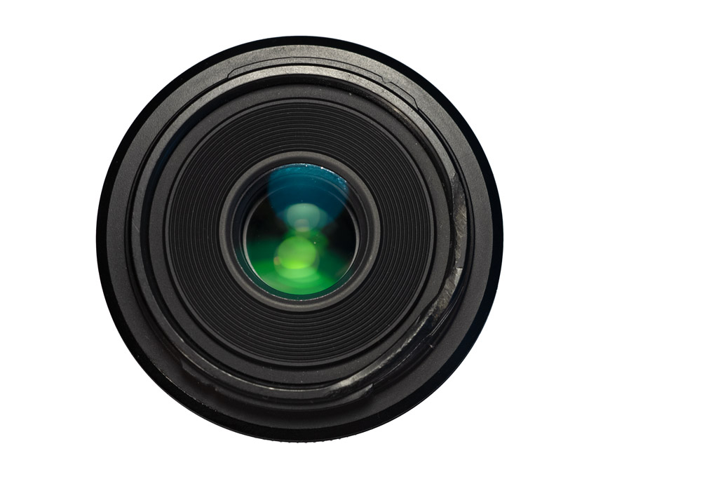Lens showing green reflection and damaged filter ring