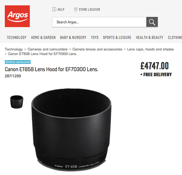 Photographers' Canon lens hood on sale at Argos for '£4,747' (update)