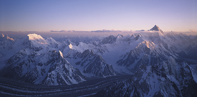 Karakoram, Pakistan. Chogolisa and Masherbrum (K1) mountains