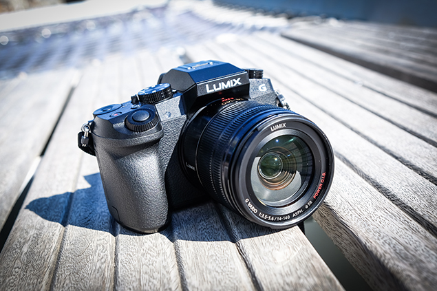 The Panasonic Lumix G7 with the 14-140mm lens attached.