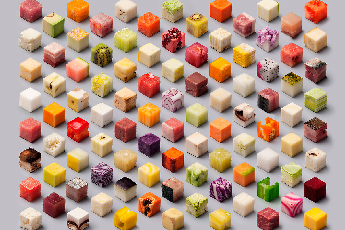 Design studio creates incredible image of food cut into perfect cubes