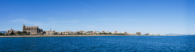 A panoramic image of Palma de Mallorca taken using the Lumix G7's wide angle of view priority Panorama mode