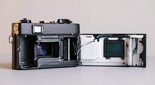 Frankencamera: 1973 Konica Auto S3 converted to digital using parts from a Sony NEX-5