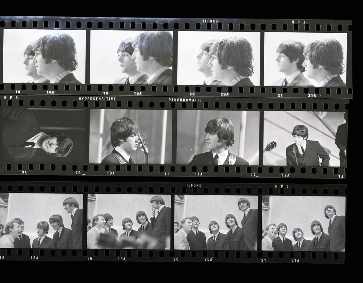 The Beatles on set contact sheet