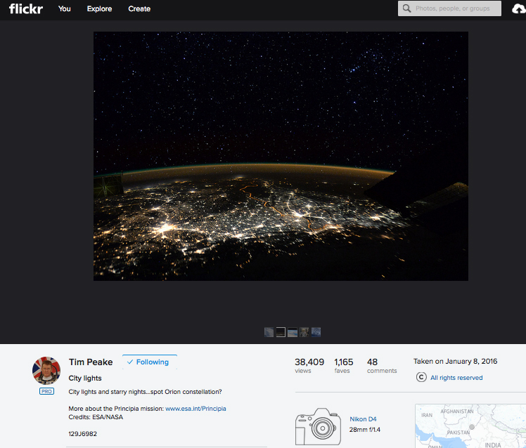 Tim Peake shares 'stunning' Nikon D4 space photos on Flickr