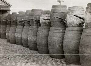 Barricade made from barrels, 1916 © Sean Sexton Collection