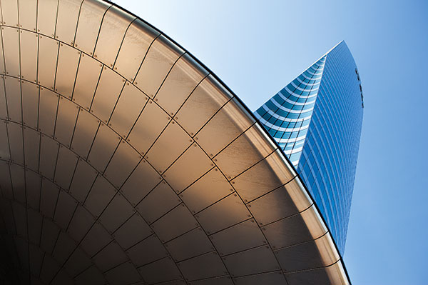 As with this shot of La Défense, Paris, look up and exaggerate futuristic lines of modern buildings. Canon EOS 5D Mark II, 28mm, 1/90sec at f/8, ISO 200