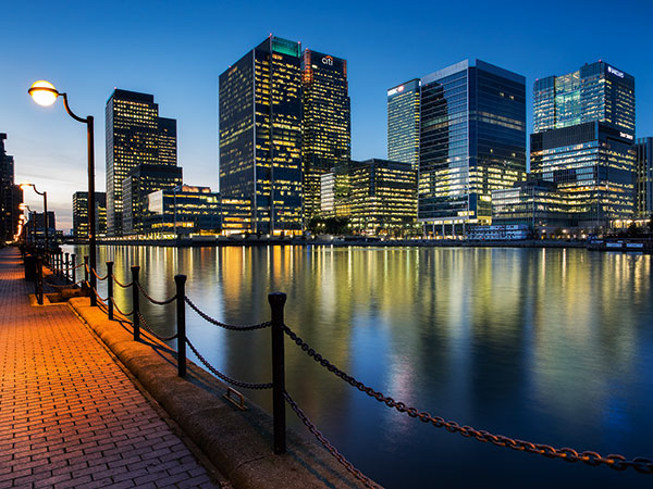 In this night image of London's Canary Wharf, the lights give a new look (Olympus OM-D E-M1, 12mm, 8sec at f/8, ISO 200, tripod)