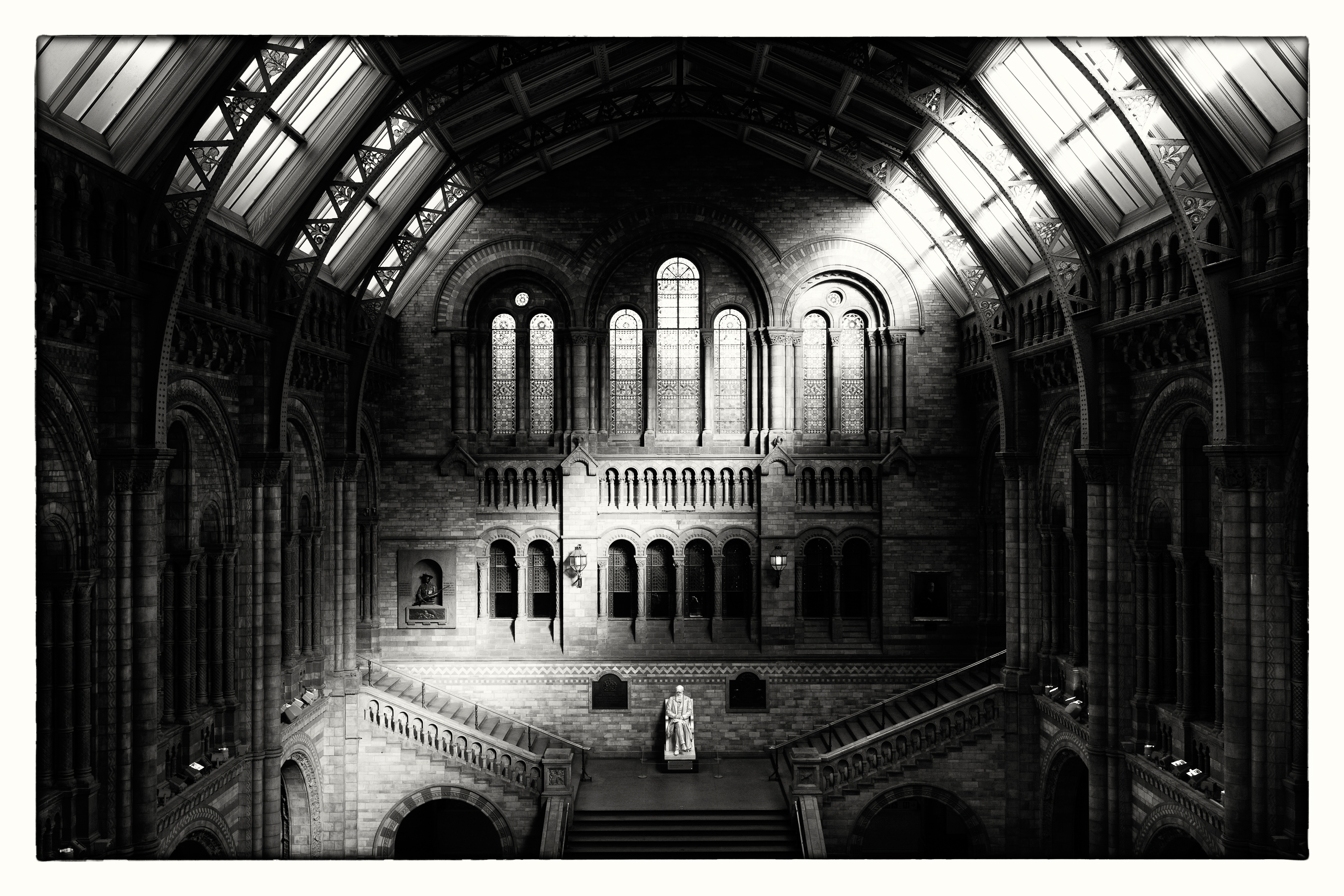 Natural History Museum, London. Sepia tone was used to warm up this architectural shot. Canon EOS 5D Mk III, 24-70mm, 1/80sec @ f/8, ISO 100