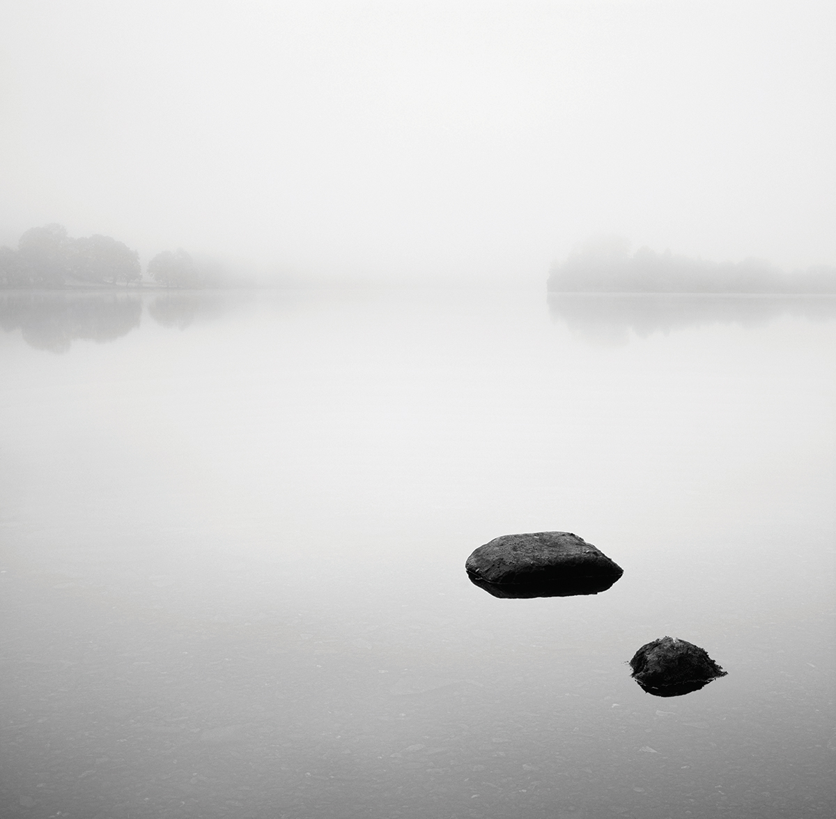 Derwentwater, Lake District. Mist and fog are ideal for minimalist mono images. Canon EOS 5D Mk II, 24-70mm, 1/250sec @ f/8, ISO 400