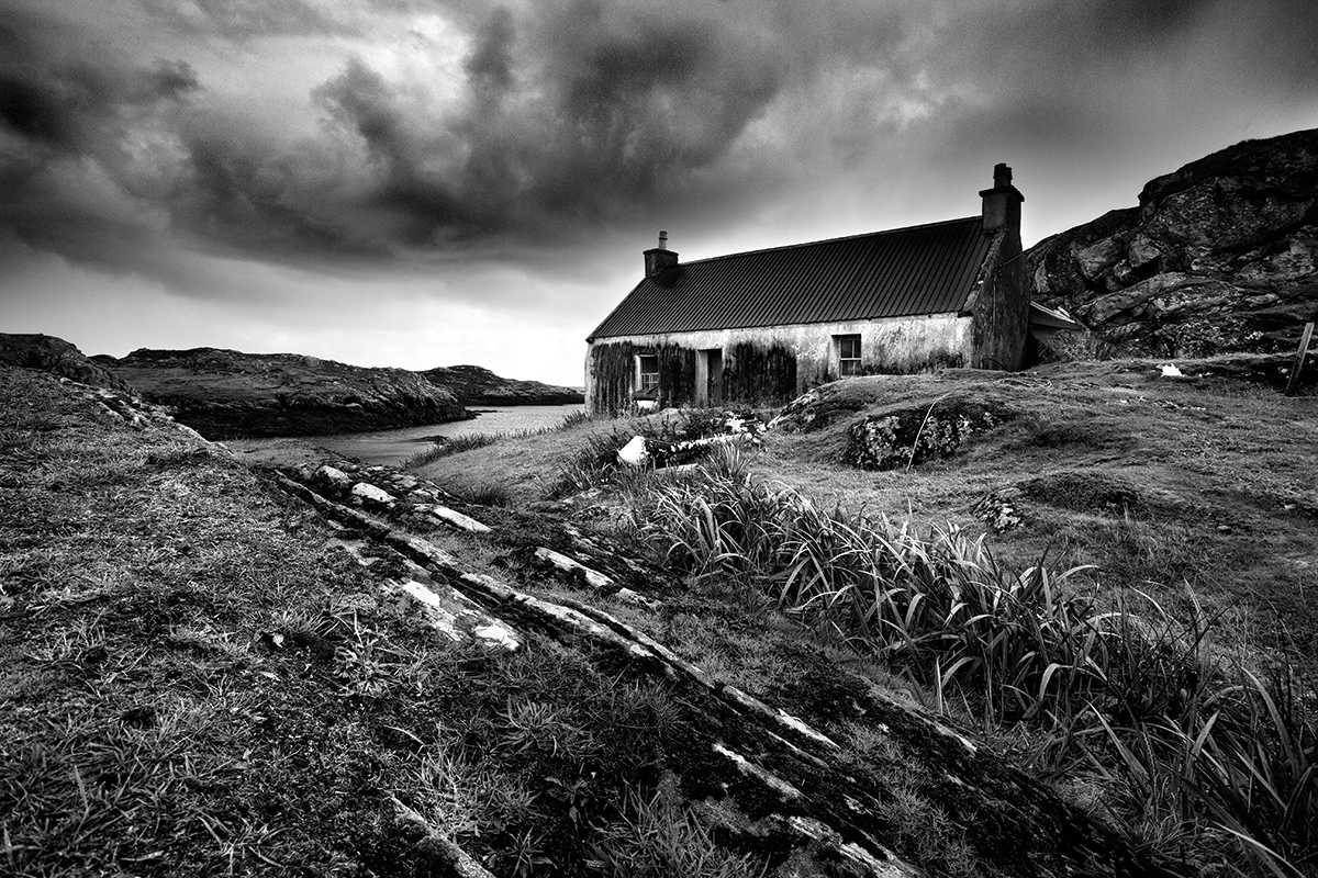 Isle of Harris, Outer Hebrides. Landscapes are perhaps the most popular subject for black & white. Canon EOS 5D Mk II, 17-40mm, 1/100sec @ f/11, ISO 400