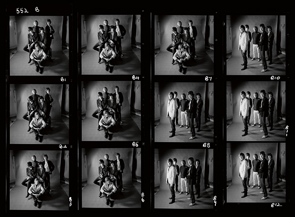 A contact sheet showing a studio shoot with the band, by Gered Mankowitz