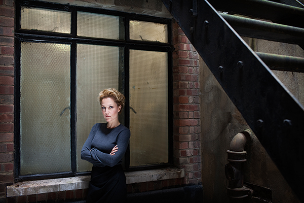 Gillian Anderson on stairwell