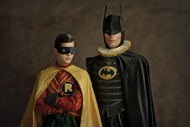 Sacha Goldberger's unique mash-up of American comic book heros and 15th century Flemish paintings
