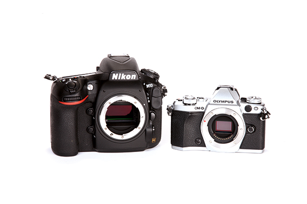 Digital cameras use a wide range of sensor sizes, with the full-frame sensor in the Nikon D810 (left) being four times the area of the Four Thirds sensor in the Olympus OM-D E-M5 II (right) and APS-C halfway in between