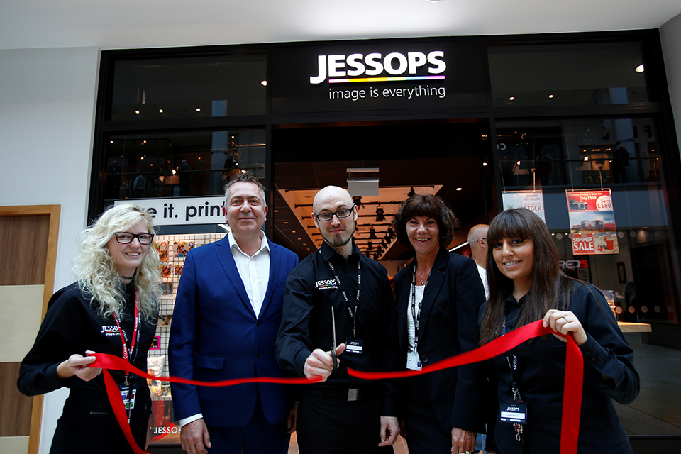 Jessops in Highcross Leicester - ribbon cutting with Scott Worger, Retail Director for Jessops, Jim Steel, Store Manager & Jo Tallack, General Manager Highcross.web