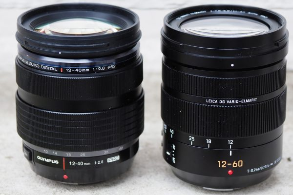 Panasonic's new 12-60mm f/2.8-4 is almost exactly the same size as the Olympus 12-40mm f/2.8 (left)