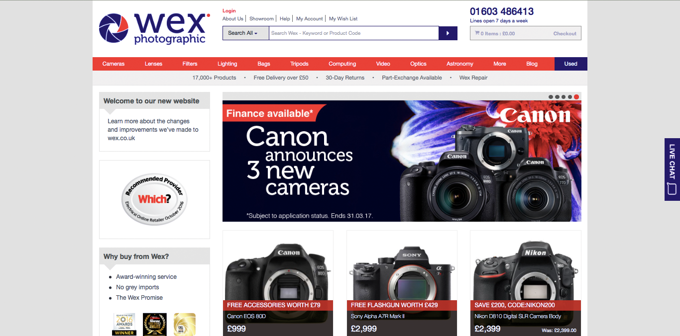 Wex Photographic homepage