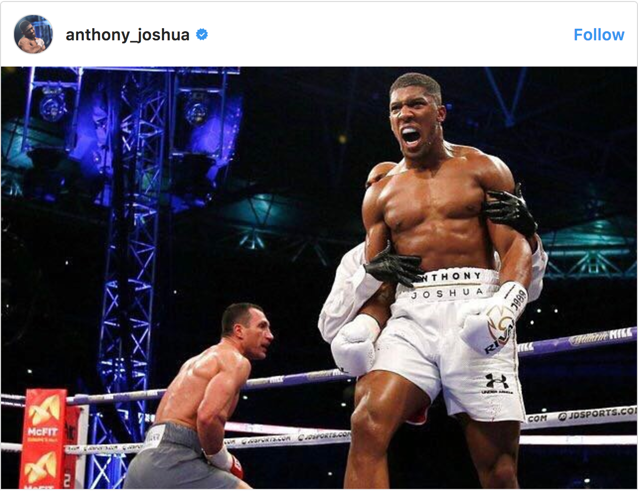 Anthony Joshua's Instagram millions following victory