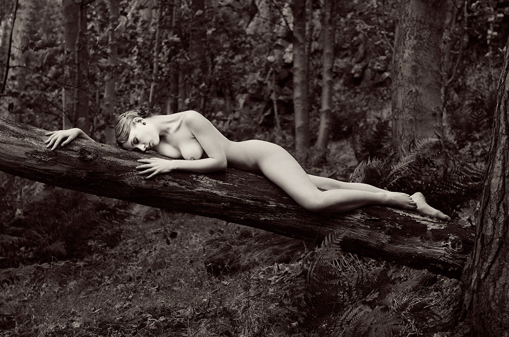Faye and Trevor Yerbury Fine art nude lady on log