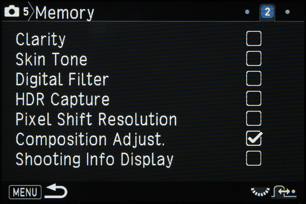 Pentax memory screen