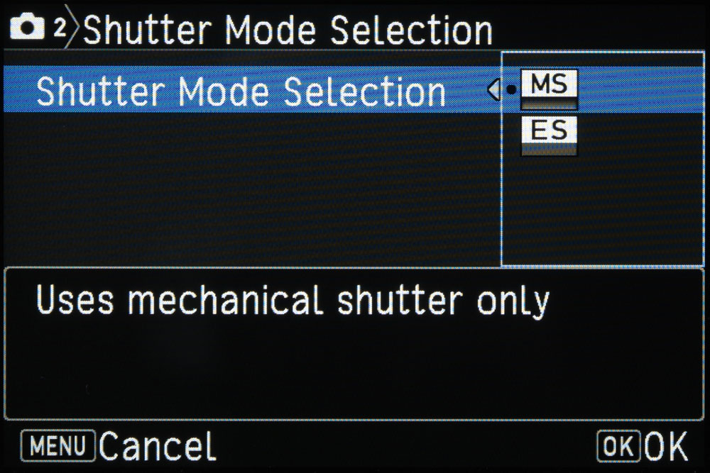 Pentax shutter mode selection screen