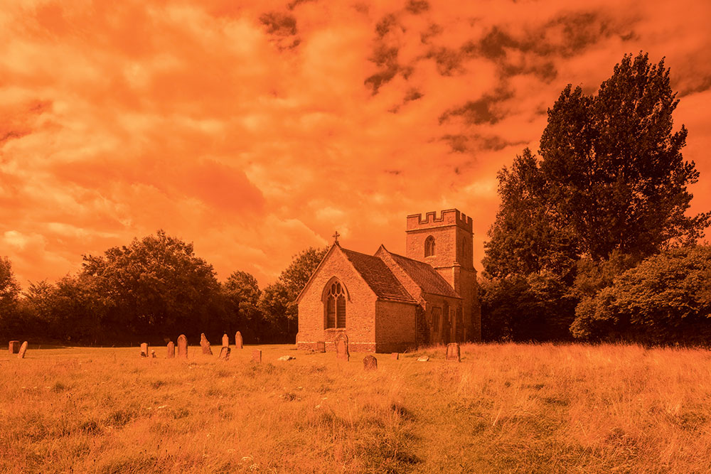 retro filters Holnest church with red filter