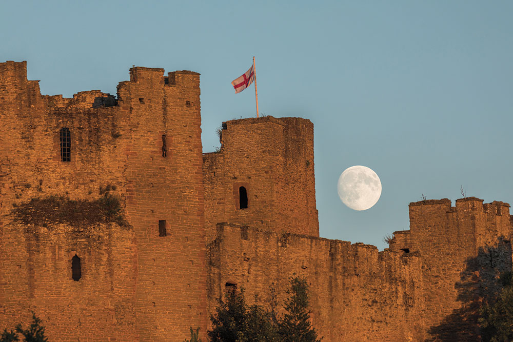 Moon rise over Ludlow Castle