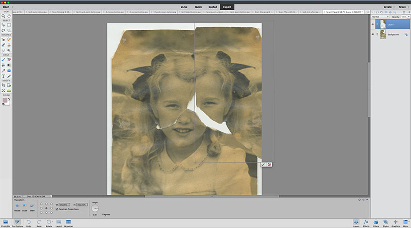 Photoshop Elements replace missing parts screen