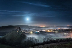 Lunar photography Corfe Castle