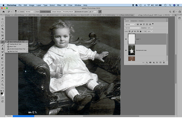 Photo restoration cloning healing tool - how to restore vintage photos