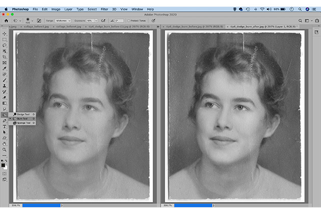 Photo restoration dodging and burning tools