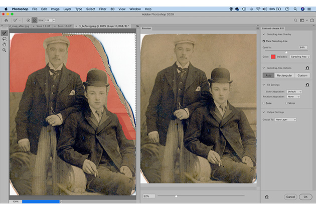 Photo restoration fill missing parts - how to restore vintage photos