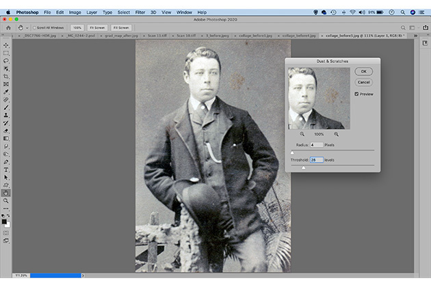 Photo restoration fix dust and scratches