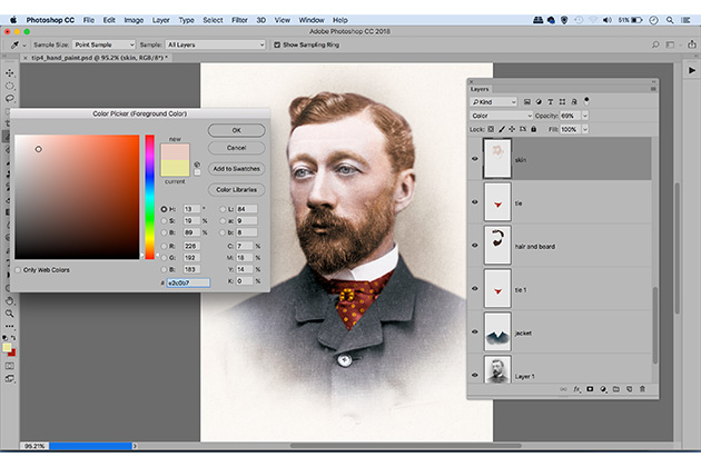 Photo restoration hand colouring screen - how to restore vintage photos