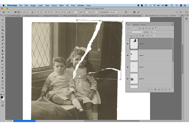 Photo restoration rebuild ripped prints - how to restore vintage photos