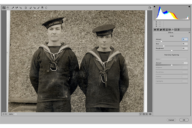 Photo restoration use grain to sharpen