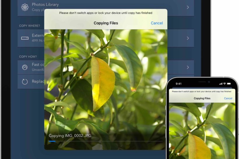 New app for copying photos from iPad/iPhone to external storage