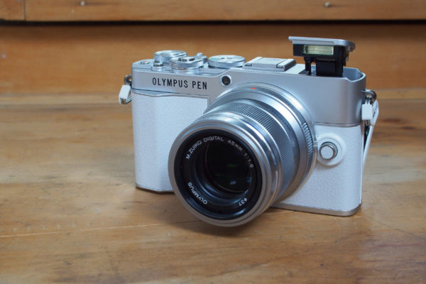 Olympus PEN E-P7 with pop-up flash and 45mm lens