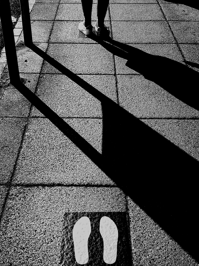 social distancing floor signs black and white
