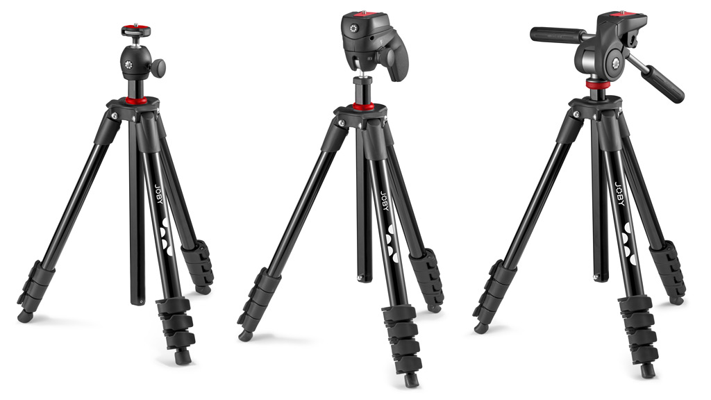 Joby Compact Tripod Range: Light, Action, Advanced (left to right)