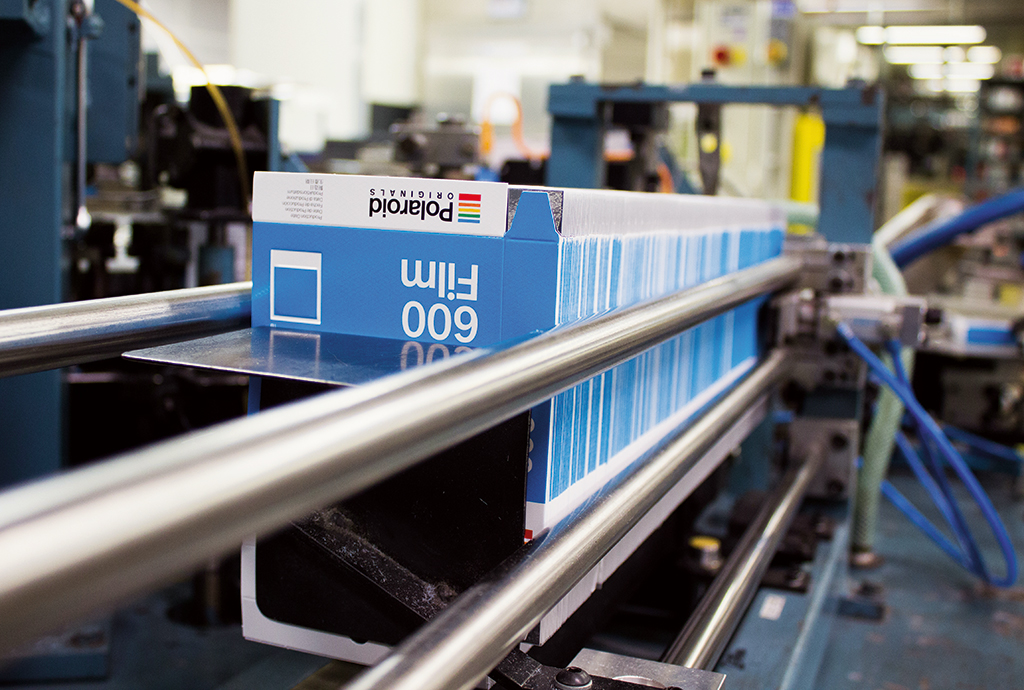 The production line in the Polaroid factory in Enschede, The Netherlands