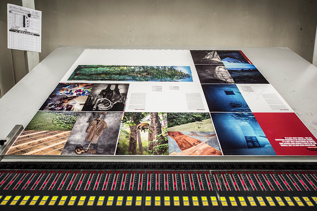 A printed sheet of 20 pages from the 1st edition of Photographers Against Wildlife Crime photo book