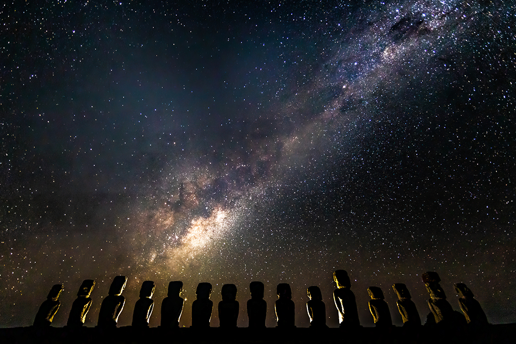 Milky Way over a row of moai on Easter Island (Rapa Nui), in the south-eastern Pacific Ocean