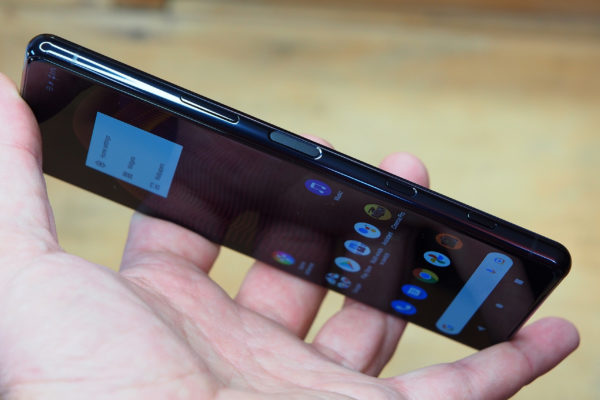 The Xperia 5 III has multiple buttons on the side, including a dedicated shutter release button