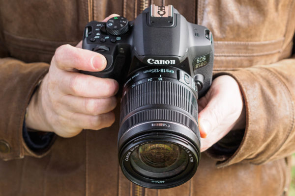 Canon EOS 850D in hand
